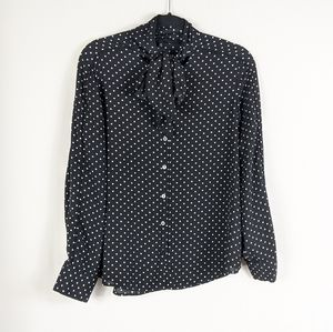 Who What Wear Polka Dot Button Down Shirt